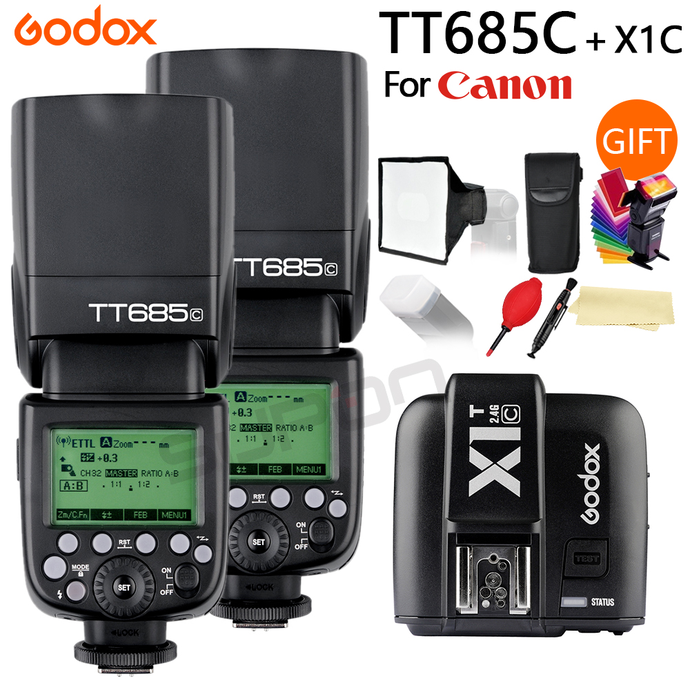 2x Godox TT685 TT685C 2.4G Wireless TTL High-speed sync 1/8000s GN60 Flash Speedlite + X1T-C Transmitter for Canon DSLR Camera godox v860iic v860iin v860iis x1t c x1t n x1t s hss 1 8000s gn60 ttl flash speedlite 2 4g transmission godox softbox filter