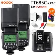 2x TTL Godox TT685 TT685C 2.4G Sem Fio de Alta velocidade de sincronização 1/8000s GN60 Flash Speedlite + x1T C Transmissor para Canon DSLR Camera