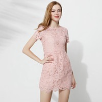 2017 Ladies Lace Hook Flowers Hollow Out Petal Sleeve Dresses Summer New Casual Pink Slim Empire