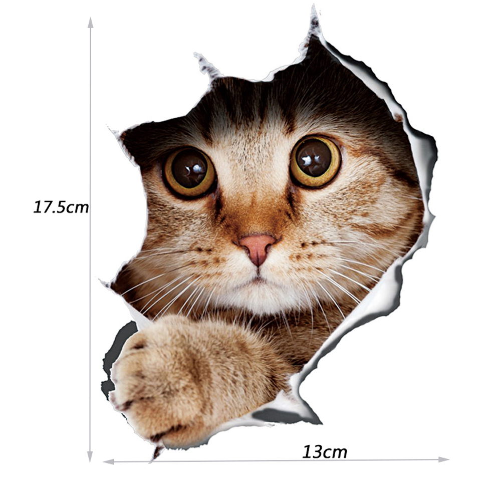 Image 2 - 13*17cm Fashion Car Stickers 3D Stereo Anime Funny Creative Personality Kitten Dog Simulation Stickers Car Styling Accessories-in Car Stickers from Automobiles & Motorcycles