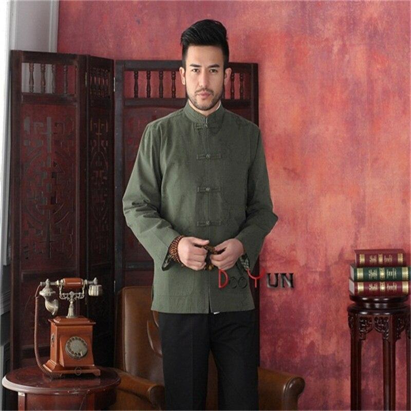 Nouvelle mode vert hommes Tang costume classique Style chinois haut caché Dragon veste bouton manteau S M L XL XXL XXXL