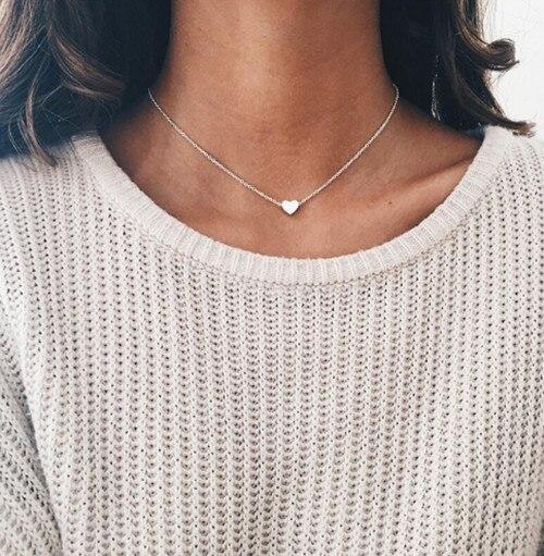 Крошечное ожерелье сердца для женщин короткая цепочка в форме сердца кулон ожерелье подарок этническое богемское Колье чокер Прямая поставка x51 - Окраска металла: x271silver
