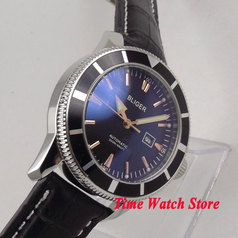 лучшая цена 46mm BLIGER black dial date window luminous black bezel leather strap deployant clasp Automatic movement men's watch 119