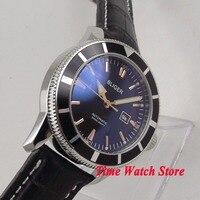 46mm BLIGER black dial date window luminous black bezel leather strap deployant clasp Automatic movement men's watch 119