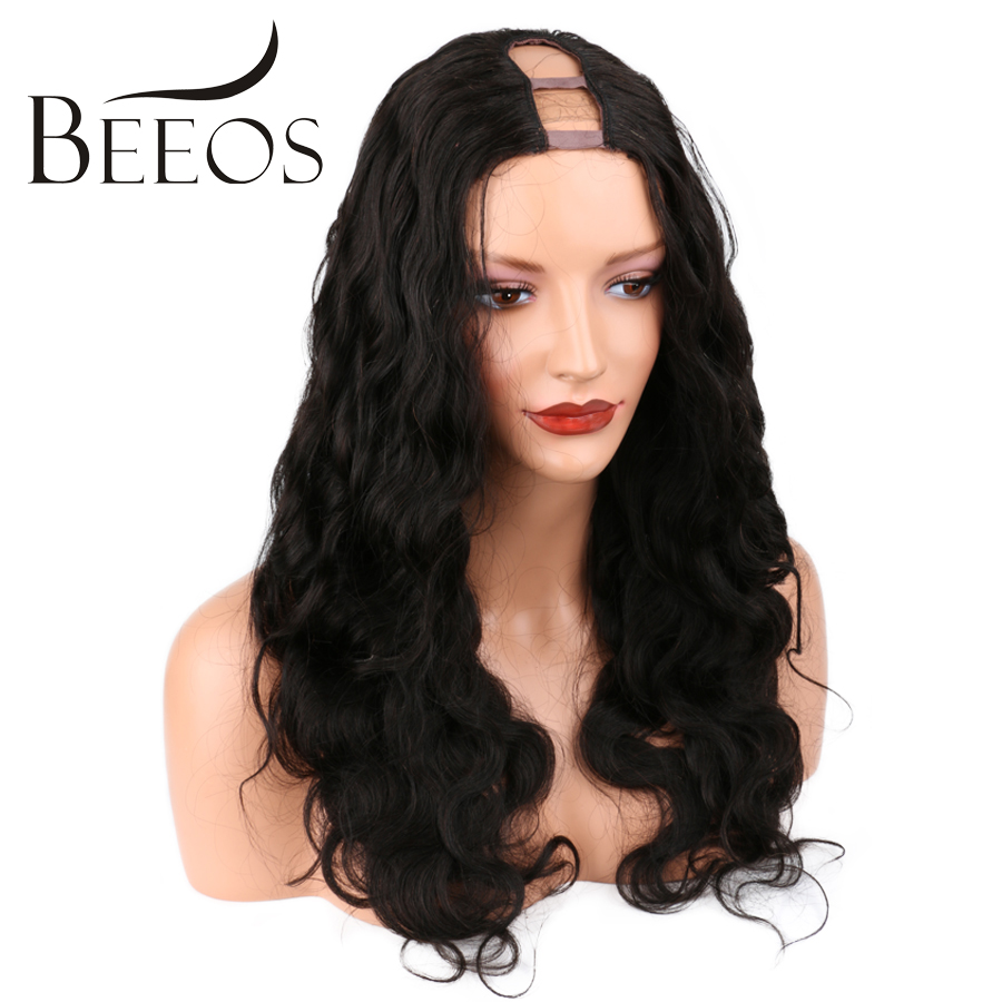 BEEOS Wig 150 Density 1*4 Inches Size U Part Human Hair Wig For Black Women Brazilian Body Wave Lace Wigs Remy Hair Average Size