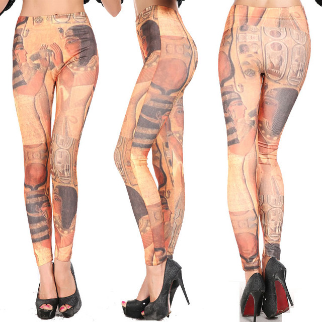 US $10 05 |Calcas femininas 2015 fashion seamless leggings color pattern of  ancient Egyptian beauty one stretch pants pants personality-in Leggings