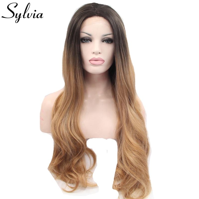 სილვია შერეული ყავისფერი ორი ტონის ombre wigs მუქი ფესვებით გრძელი ტალღის სინთეზური მაქმანი წინა პერანგით გამძლეობით ბოჭკოვანი თმის