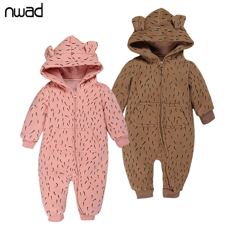 NWAD 2017 New Hooded Baby Rompers Winter Thicken WarmRomper Baby Long Sleeve Jumpsuit  Infant Romper Newborn Baby Clothing FF383 warm thicken baby rompers long sleeve organic cotton autumn