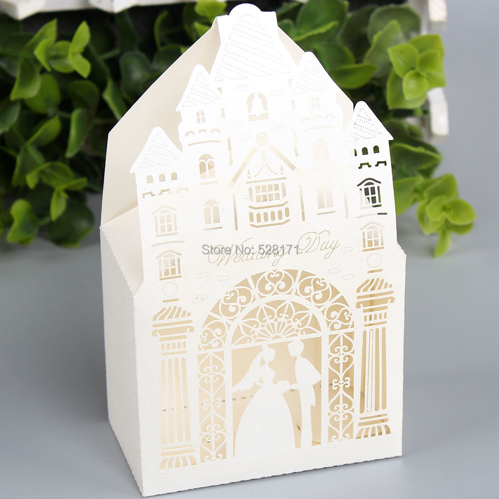 Free Shipping 100PCS Red/White/Gold Laser Cut Wedding Favor Boxes ...