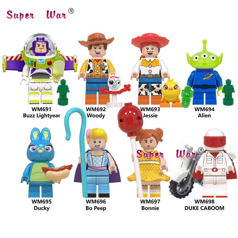 Single Toy Story 4 Buzz Lightyear Woody Jessie Ducky Bo Peep Duke Caboom Alien Hamm Sonic Building Blocks