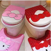 Cute Hello Kitty Bathroom Sanitary Sitting Toilet Seat Cushion Mat + Floor Mat PAD + Closestool Cover, Cotton Cover 3PCS=ISET