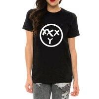 XXXY Cartoon Letter Print Fashion Women Tops O Neck Short Sleeve Cotton T Shirt Black White