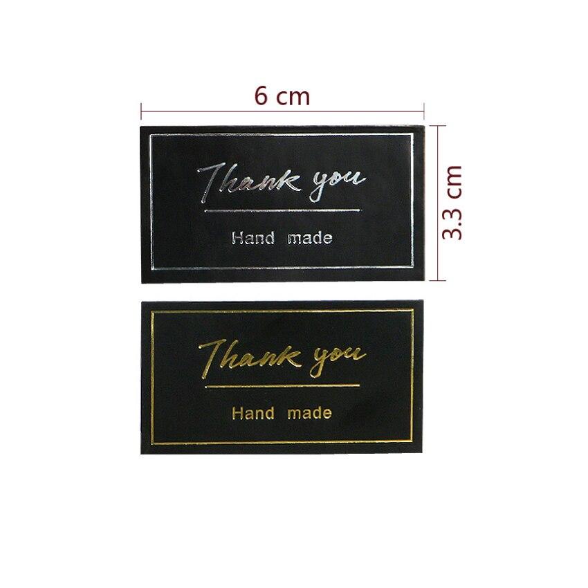Купить с кэшбэком 60pcs/lot 'Thank you hand made' Black Self-adhesive Sealing Sticker Handmade Products Package Decoration Stickers Scrapbooking