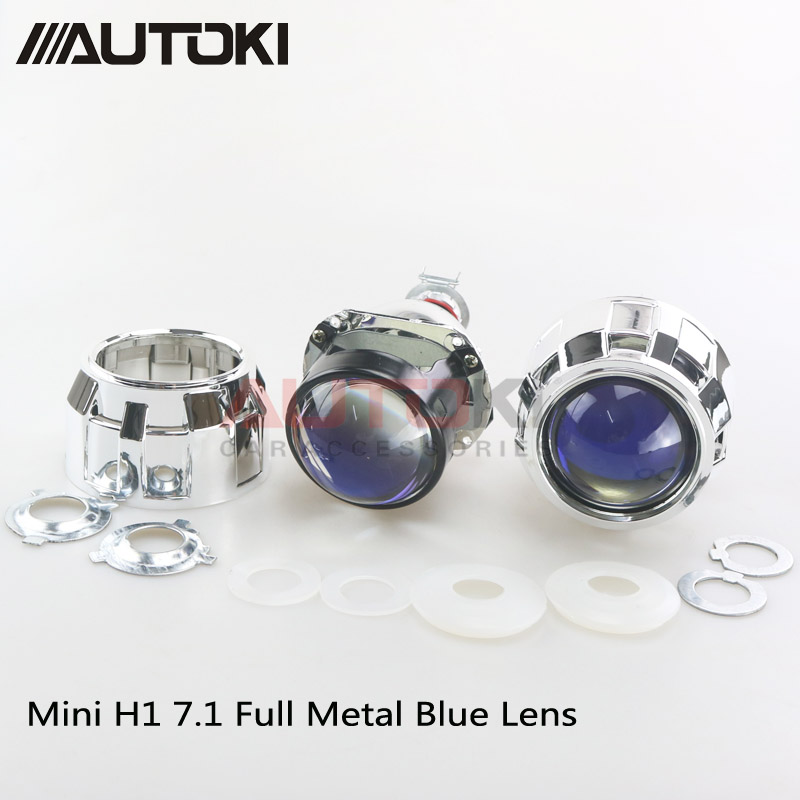 AUTOKI Car Styling Mini 2 5 inches HID Bi xenon Headlight Projector Blue Lens Retrofit DIY