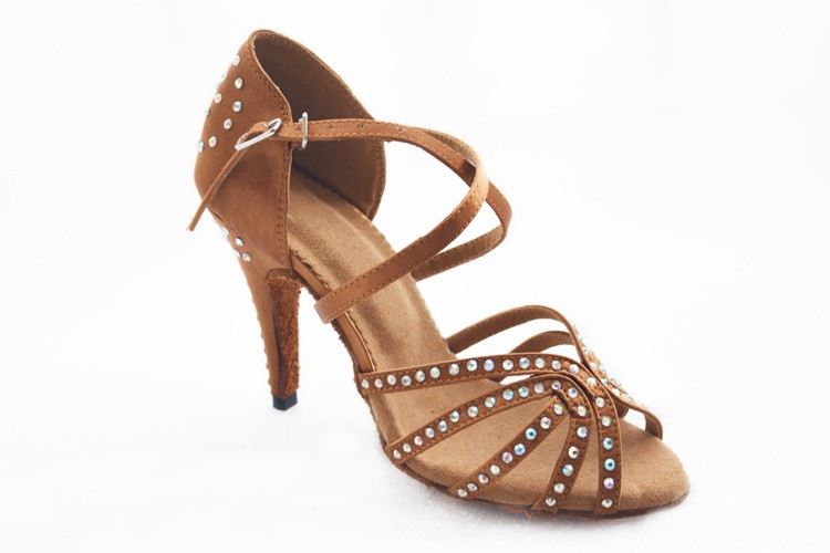 Dropwow DILEECHI female Bronze red satin Latin dance shoes women s ... f24c1471d690