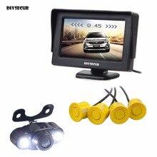 DIYSECUR 4.3inch Rear View Car Monitor Kit + 4 Parking Radar + LED Night Vision Car Camera Video Parking Radar