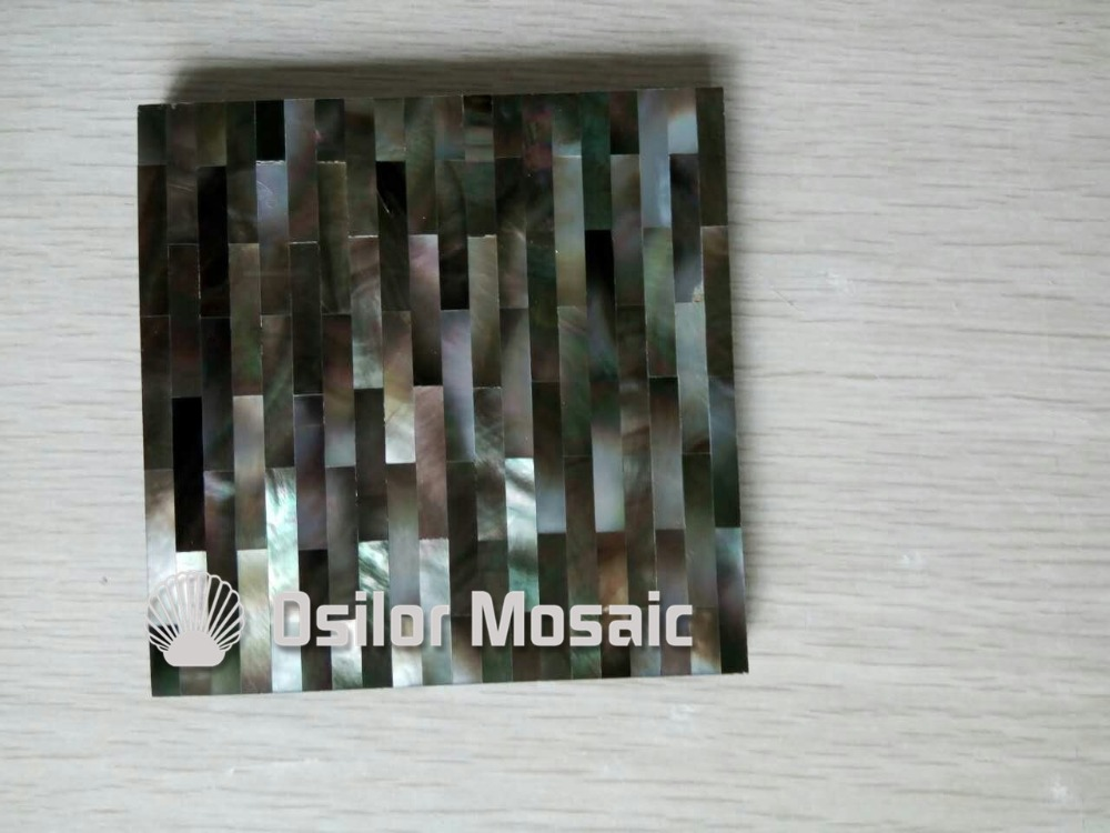 Brick pattern 100% natural black mother of pearl tile for interior house decoration polished shell tile wall tile brick pattern 100% blacklip sea shell natural black color mother of pearl mosaic tile for interior house decoration wall tiles
