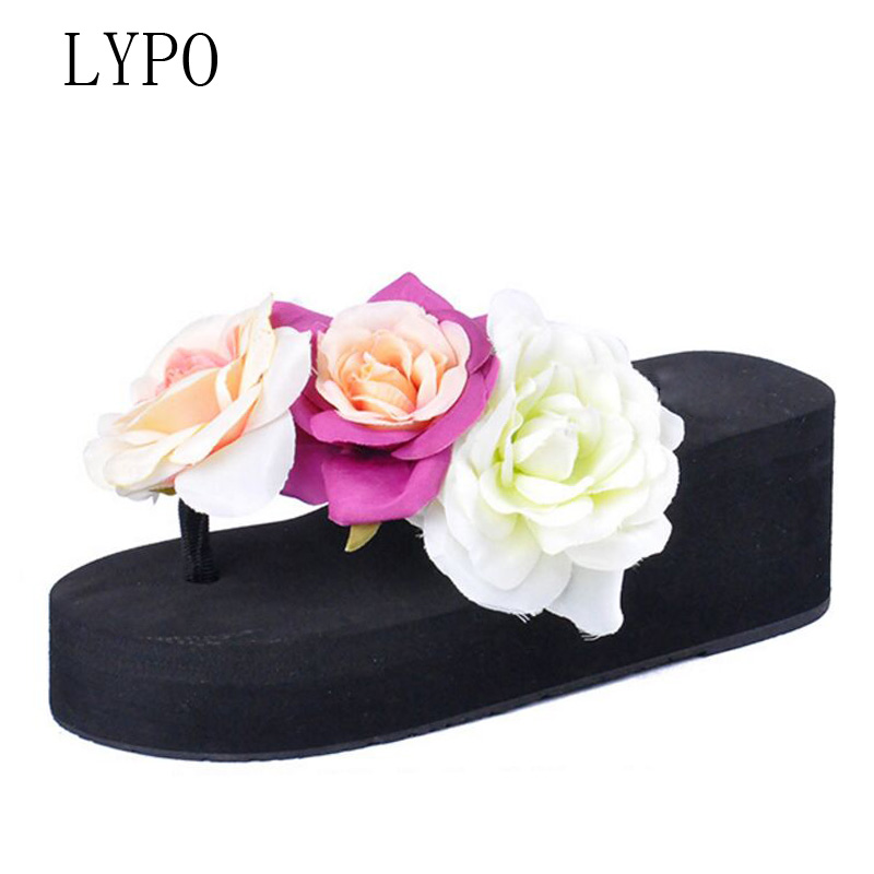 LYPO Hot Selling 2018 Fashion Summer slippers wedges Platform Flip Flops Woman Non-Slip High Heels Flowers Beach Sandals Ladies