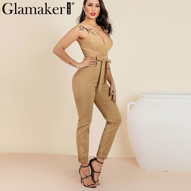 Glamaker Cotton overalls women sexy club   jumpsuit   romper Elegant khaki bodycon   jumpsuit   summer deep v neck belt long   jumpsuit