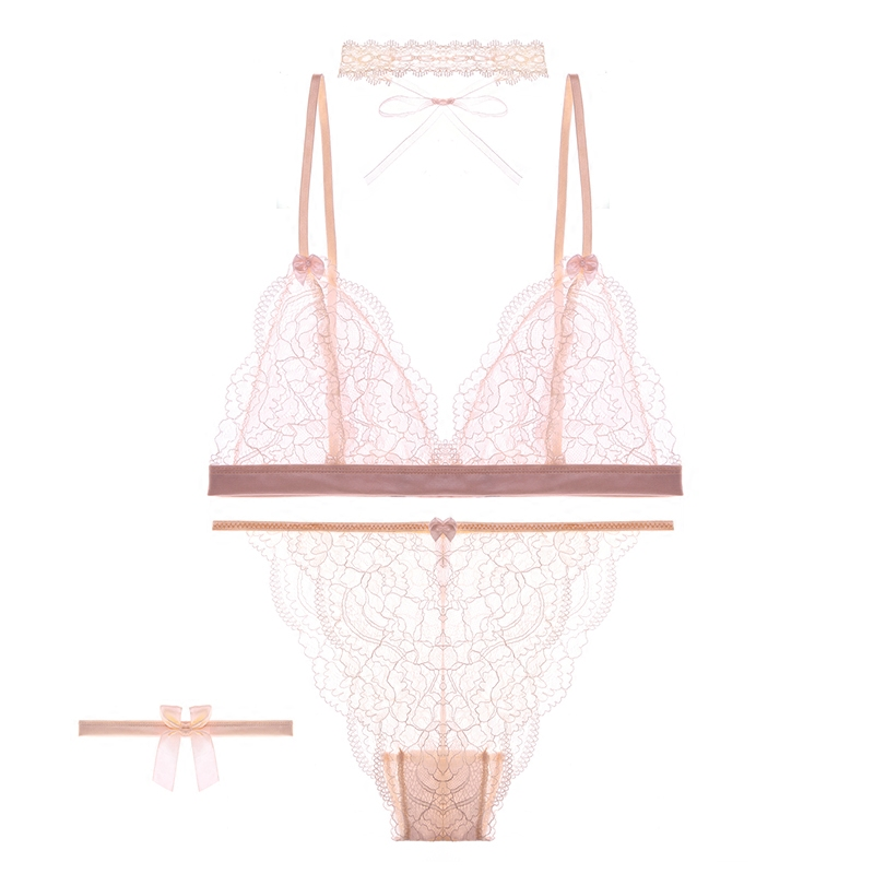 Fresh Women Sexy Lingerie Underwear Transparent Lace Eyelash Triangular Cup Bralette Bra Panty Set With Necklace Leg Ring Women's Intimates