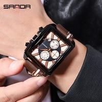SANDA Fashion Sport Quartz Watch Men New Reloj Hombre Chronograph erkek kol saati Watches Luxury Leather Strap relogio masculino