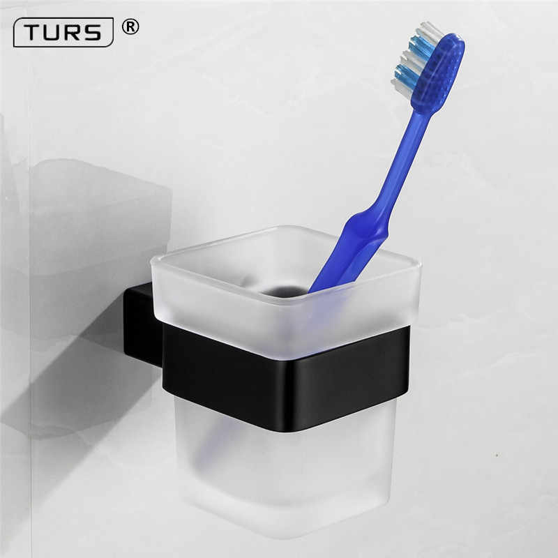 2018 Electroplated אחת מברשת שיניים זכוכית כוסות מחזיק SUS 304 נירוסטה שחור Toorhbrush מחזיקי כוס אביזרי אמבטיה