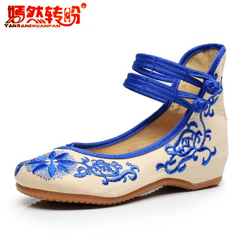 Chinese Embroidered Shoes National Flower Flat Cloth Shoes Casual Blue Red Mary Jane Old Peking Dance Sapato Feminino Size 34-41 vintage pumps spring autumn old beijing embroidery cloth shoes fairy girl embroidered national han chinese women s shoes