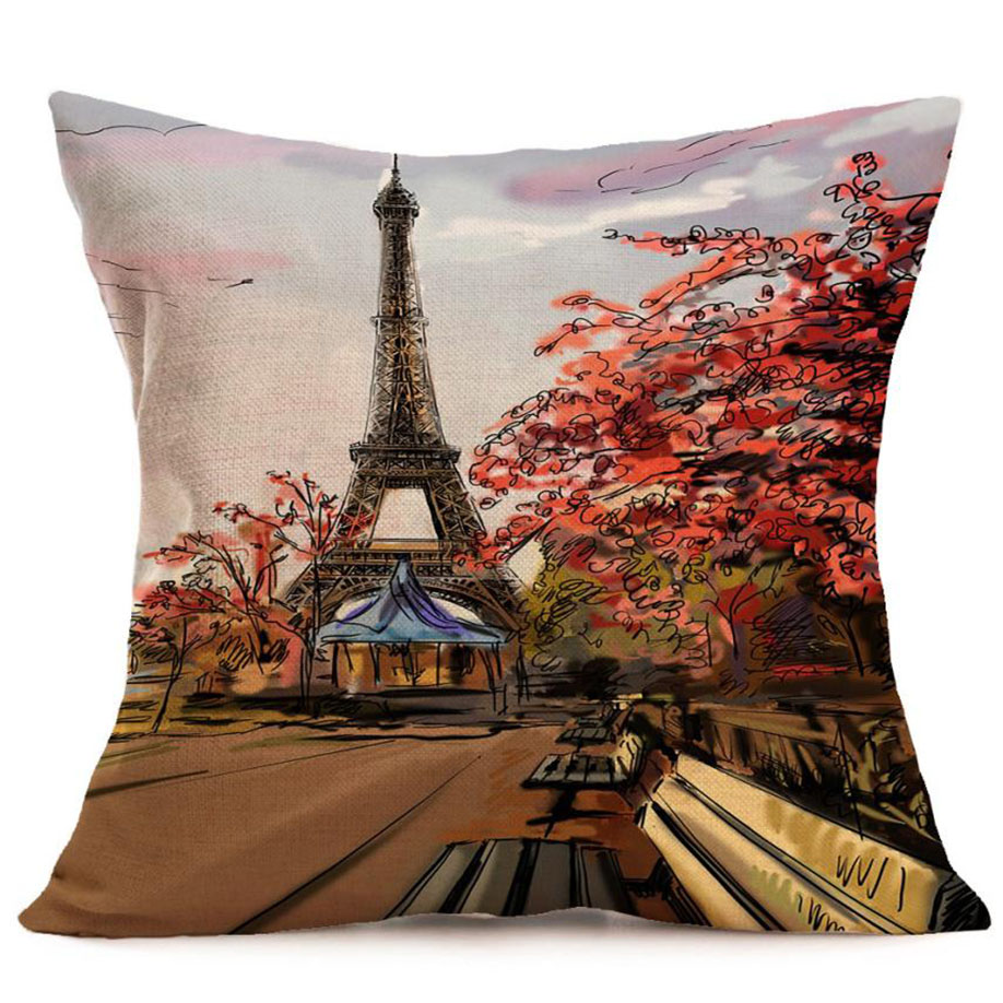 Ouneed Eiffel Tower Luxury Flax Home Decorative Cushion Cove 43X43cm Pillow