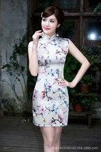 clearance sale Women satin Cheongsam vestidos Chinese dress chi-pao Party Dresses Mini Evening Dress Size:S M L XL XXL