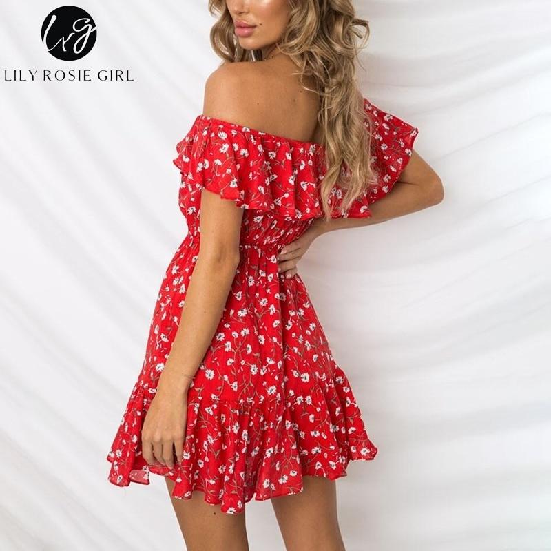 56e53eafb779d Lily Rosie Girl Off Shoulder Chiffon Boho Summer Dress Red Print ...