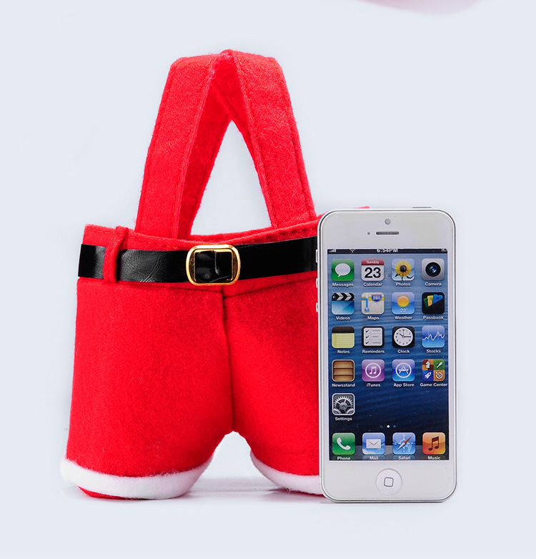 10 pcs Merry Christmas Gift Treat Treat Wine Wine Bottle Santa Claus Suspender Pants Trousers Decor Christmas Gift Bags