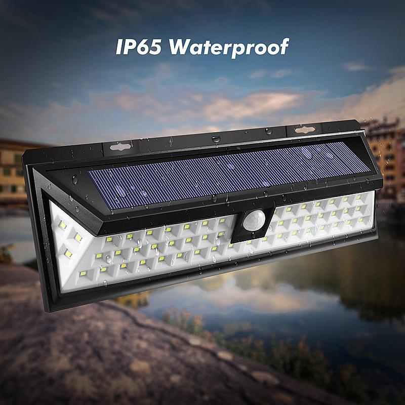 Mising Waterproof 54 <font><b>LED</b></font> Solar <font><b>Light</b></font> 2835 SMD White Solar Power <font><b>Outdoor</b></font> Garden <font><b>Light</b></font> PIR Motion Sensor Pathway Wall Lamp 3.7V