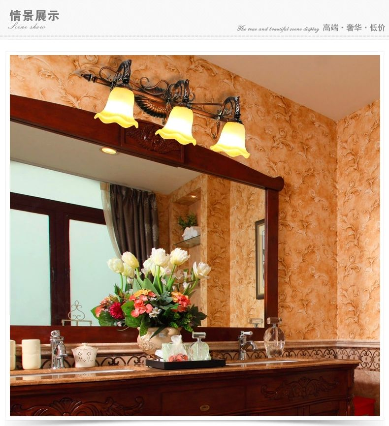 Pantalla de cristal 3 luces de espejo de Baño LED clásico simple ...