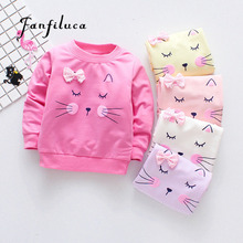 Fanfiluca 2018 Brand New Girls T-Shirts Long Sleeve Girl Autumn Cat Tees Shirts Casual Tops Clothes Children Outwear Outfits