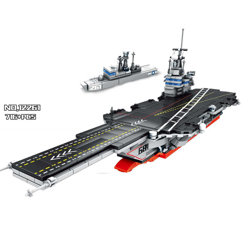 Hot Nimitz airplane Carrier modern military armed building block air forces army commander figures aircraft Submarine brick toys