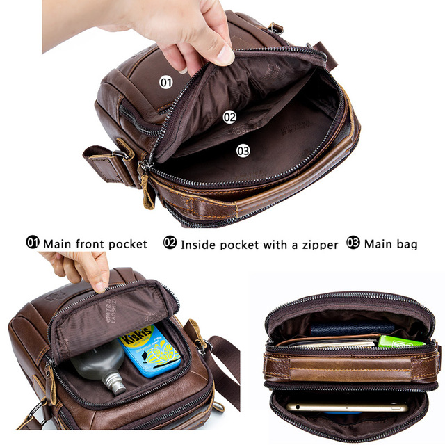 LAOSHIZI LUOSEN MEN'S BAG Genuine Leather Shoulder Bag Fist Layer Cow Leather Casual Business Bag For Male Luxury Brand Bag91314 1