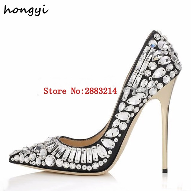 Bridal Lady Rhinestone Pointed Toe Pumps Price Dress Heels Slip On Wedding Shoes In 6Off Style Luxury Us61 High wholesale Party Fashion 78 hBxtQrCds