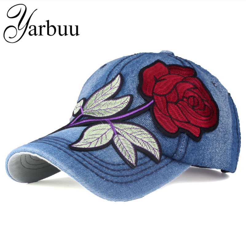 [YARBUU]Brand denim Baseball Cap with red Rose women casual snapback hat new fashion solid jeans caps summer sun lady girl hats (China)