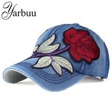 YARBUU  marca denim gorra de béisbol con rosa roja las mujeres sombrero  ocasional del snapback nueva moda jeans solid verano so. 1df5f95d69b