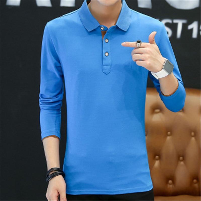 2018 New Fashion Men Polo Shirts Long sleeve Solid color Slim Fit Cotton Mens Polos Shirt M-3XL Male Clothing 1