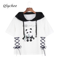 Qlychee Cute Panda Cartoon Print T Shirt Women Clothing Lace Up Hoodies Fashion Basic Tees Casual