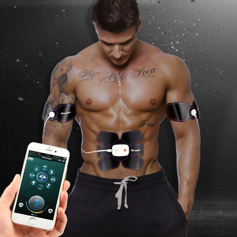 Muscle Stimulator EMS Stimulation Body Slimming Machine Wireless App Remote Control Abdominal Muscle Exerciser Trainer Massager unisex electronic wireless muscle stimulation system body massager 2017 best selling
