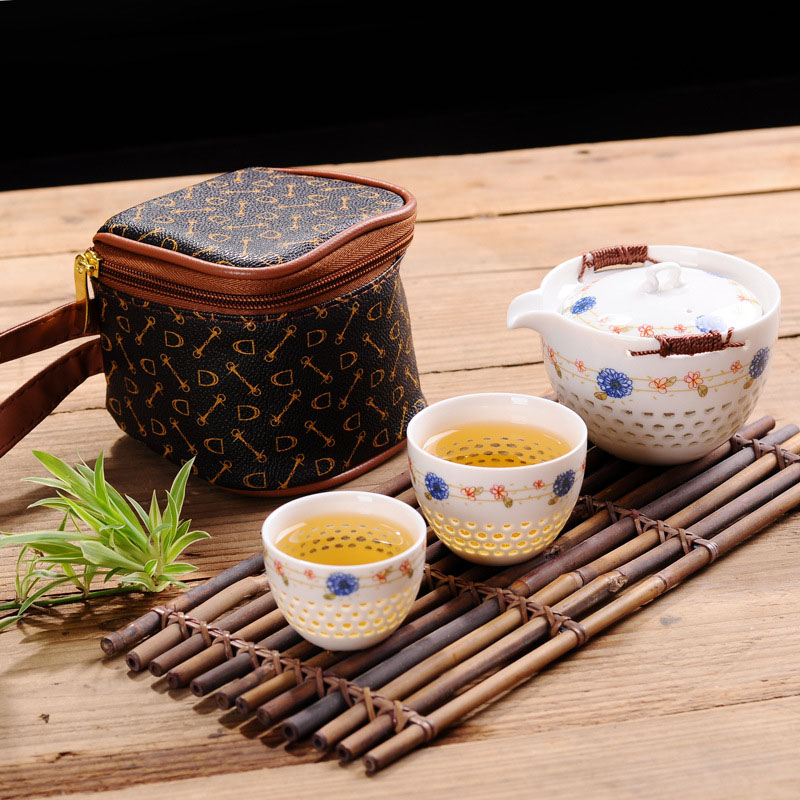 High Quality Ceramics Hollow Tea Set Include 1 Pot 2 Cup, Elegant Gaiwan,Beautiful And Easy Teapot Kettle Mug,kung Fu Teaset