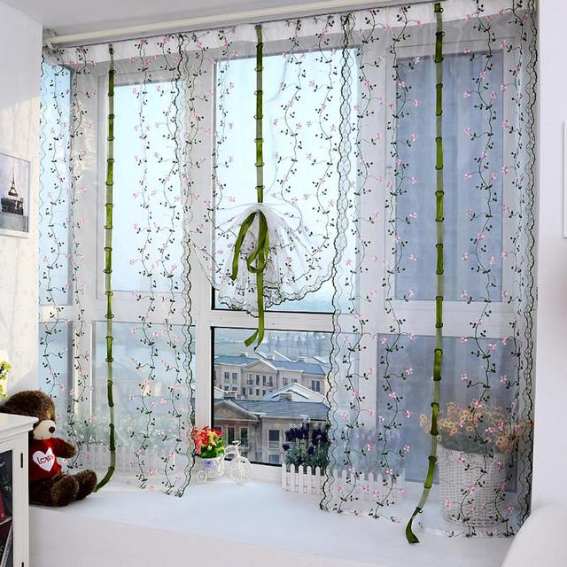 Tulle Curtains Past Style Embroidery Restaurant Decorations Window Treatments Living Room Home Decor Curtain Single Panel