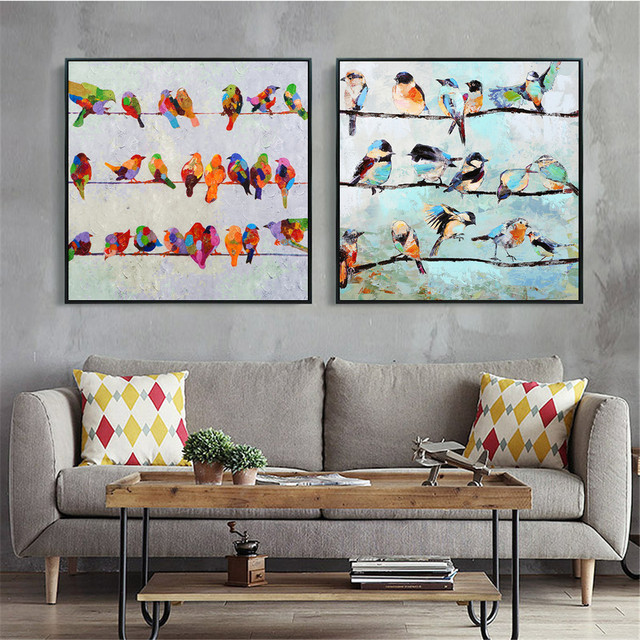 Birds On A Wire Artwork Canvas Art Print Painting Poster Wall Pictures For Living Room Home Decorative Decor No Frame