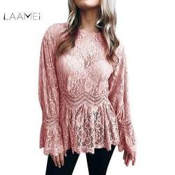 LAAMEI Для женщин кружевные блузки рубашки Осень Дамы корейской Костюмы расклешенные Длинные рукава с круглым вырезом Блузка абрикос