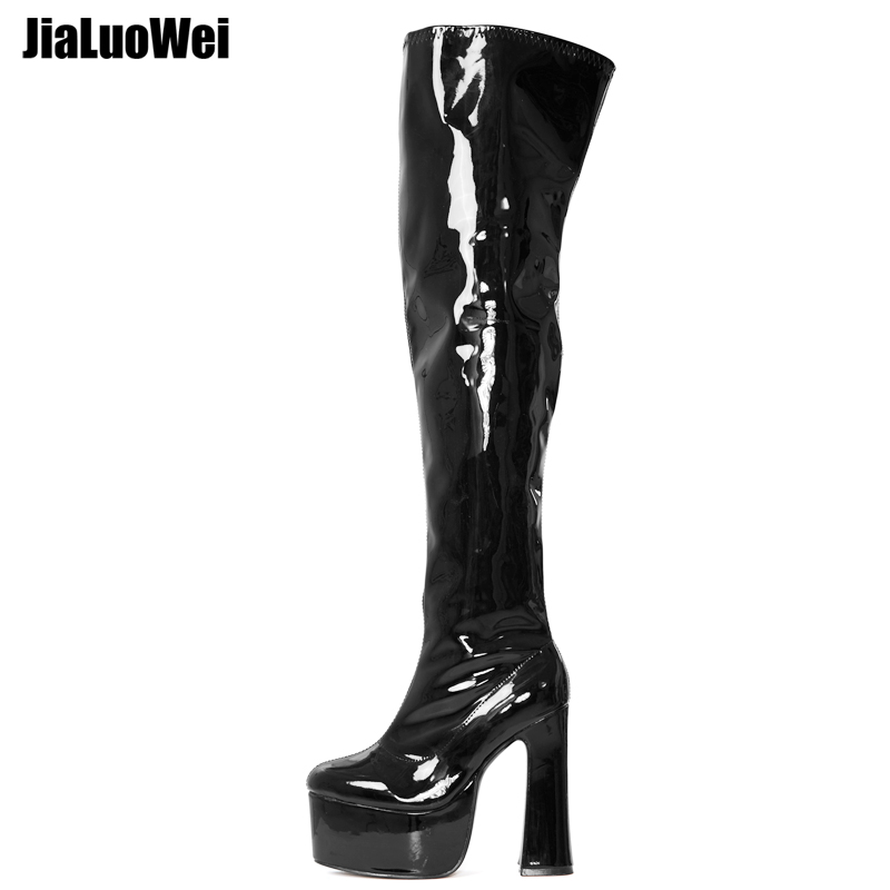 jialuowei Over-the-Knee Boots Womens Square Block Heel Platform Side Zipper Autumn Winter Thigh Boots 15CM High Heels Size 36-46