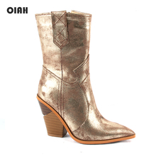 OIAH Fashion Gold Microfiber Leather Women Mid-calf Boots Pointed Toe Western Cowboy Chunky Wedges High Heel
