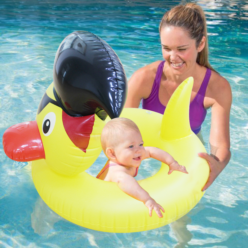 Yellow Duck Pool Design Cute Kids Baby Child Inflatable Swimming laps Pool Safe lounge Swim Ring Seat Float Boat Water Fun Sport
