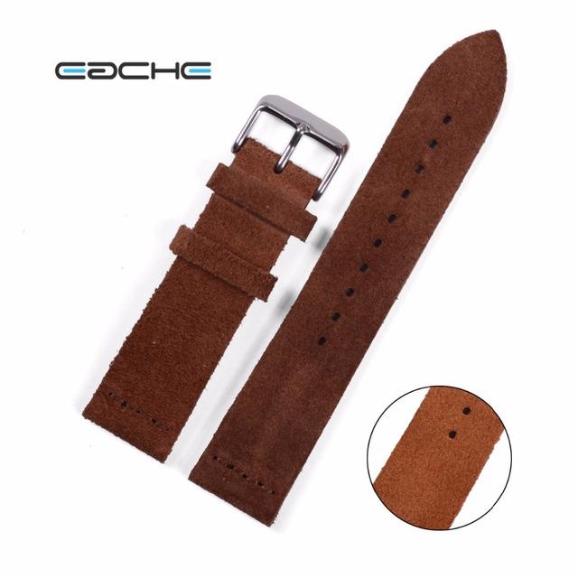 Eache wathband con hebilla de plata de cuero piel de vaca suede marrón claro marrón oscuro correas de reloj 20mm 22mm